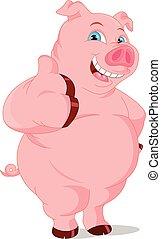 rigolote, dessin animé, cochon, haut, pouce