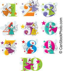 rigolote, dessin animé, elfes, nombres
