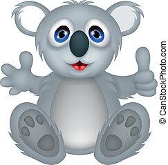 rigolote, dessin animé, koala, pouce haut
