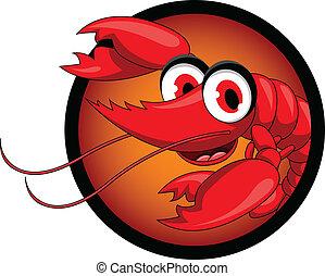 rigolote, dessin animé, rouges, crevette