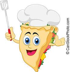 rigolote, dessin animé, sandwich, chef cuistot, charact