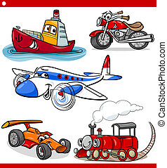 rigolote, dessin animé, véhicules, et, voitures, ensemble