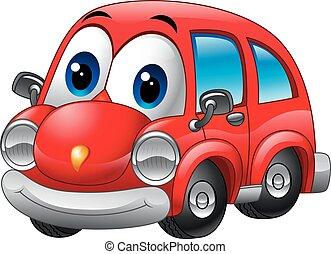rigolote, dessin animé, voiture rouge