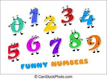 rigolote, deux, ensemble, quatre, zero., cinq, une, six, characters., trois, gosses, figures, nombres, huit, neuf, dessin animé, sept