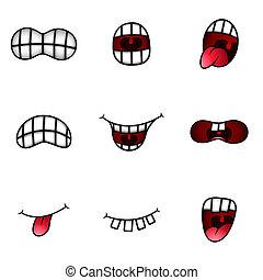 rigolote, différent, bouche, expressions, dessin animé