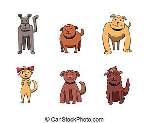 rigolote, différent, ensemble, illustration., plat, kinds., isolé, chien, characters., vecteur, arrière-plan., sourire, blanc, chiens, dessin animé