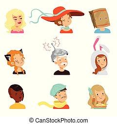 rigolote, différent, gens, ensemble, étrange, vecteur, caractères, faces, illustrations