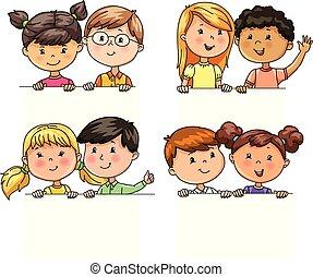 rigolote, différent, paires, tenue, nationalités, bannière, enfants
