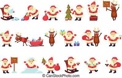 rigolote, différent, santa, ensemble, situations, vecteur, fond, illustrations, clauses, blanc, dessin animé, caractères