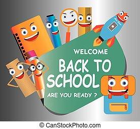rigolote, education, dos, école, caractères, gabarit, mascots., illustration, dessin animé, fond, vecteur