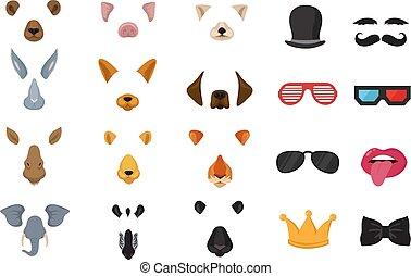 rigolote, ensemble, animal, téléphone, photo, masques, chat, application, vecteur, vidéo, filtres, faces, dessin animé