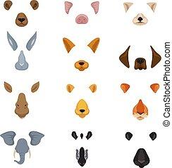 rigolote, ensemble, animaux, nez, téléphone, diagramme, app., vecteur, vidéo, animal, faces, dessin animé, oreilles