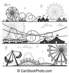 rigolote, ensemble, attractions, parcs, illustrations, monochrome, amusement
