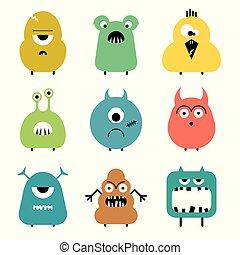 rigolote, ensemble, coloré, mignon, dessin animé, vecteur, monstres
