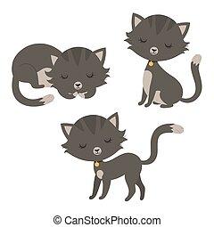 rigolote, ensemble, dessin animé, cats.