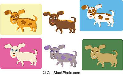 rigolote, ensemble, dessin animé, chiens