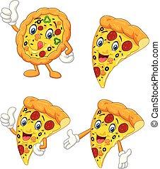 rigolote, ensemble, dessin animé, collection, pizza