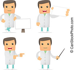 rigolote, ensemble, dessin animé, docteur