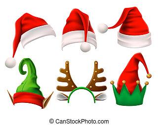 rigolote, ensemble, elfe, chapeaux, claus, isolé, neige, renne, vecteur, noël, santa, hat., 3d, vacances, noel., elfes, vêtements