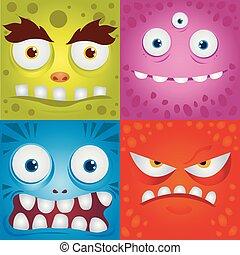 rigolote, ensemble, expression, monstres, dessin animé