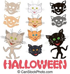 rigolote, ensemble, félin, halloween, masques, chats
