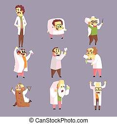 rigolote, ensemble, laboratoire revêt, fou, scientifiques