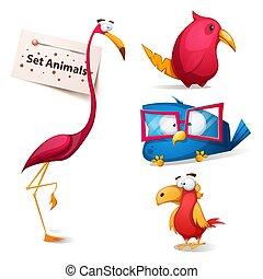 rigolote, ensemble, mignon, -, characters., dessin animé
