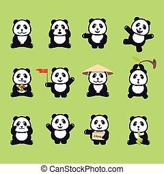rigolote, ensemble, mignon, illustration, vecteur, pandas., dessin animé