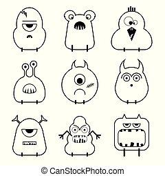 rigolote, ensemble, mignon, monstres, vecteur, dessin animé