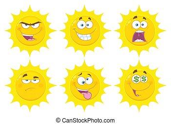 rigolote, ensemble, plat, soleil, caractère, type caractère jaune, conception, 3., série, collection, dessin animé, emoji