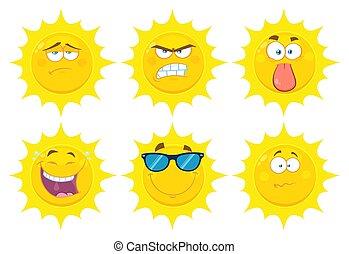 rigolote, ensemble, plat, soleil, caractère, type caractère jaune, conception, collection, série, 2., dessin animé, emoji