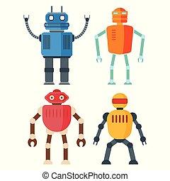 rigolote, ensemble, robots, retro