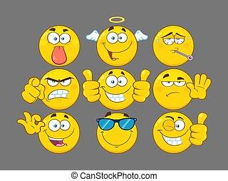 rigolote, ensemble, série, caractère, type caractère jaune, 3., collection, dessin animé, emoji