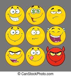 rigolote, ensemble, série, caractère, type caractère jaune, collection, 2., dessin animé, emoji