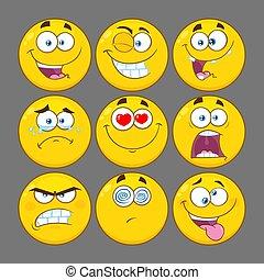 rigolote, ensemble, série, caractère, type caractère jaune, collection, emoji, dessin animé, 1.