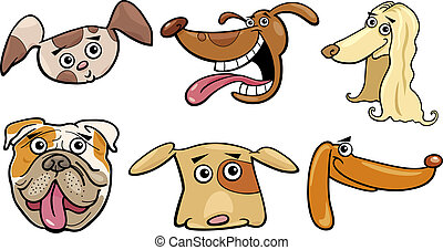 rigolote, ensemble, têtes, dessin animé, chiens