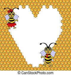 rigolote, entouré, coeur, couple, valentines, deux, illustration, jour, postcard., abeilles, honeycombs., vector-art, dessin animé