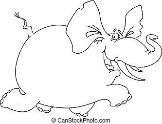 rigolote, esquissé, éléphant