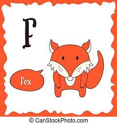 rigolote, f, alphabet, illustration, animals., education., vecteur, mignon, letter., dessin animé, enfants