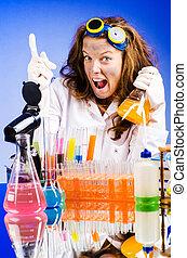 rigolote, femme, chimiste, laboratoire