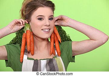 rigolote, femme, elle, carottes, tenue, oreilles