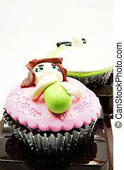 rigolote, figure, tasse, doux, gâteau, décoré