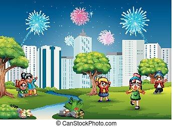 rigolote, filles, parc, jouer, garçons, dessin animé