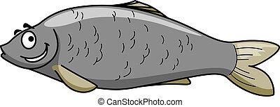 rigolote, fish, heureux, dessin animé, sourire