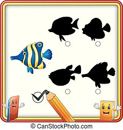rigolote, fish., shadow., enfants, trouver, jeu, dessin animé, education, correct