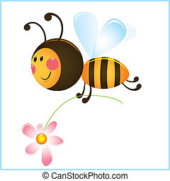 rigolote, fleur, abeille