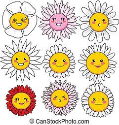 rigolote, fleur, faces