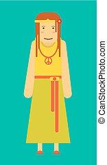 rigolote, fleur, hippie, signe, cheveux, pacifiste, girl