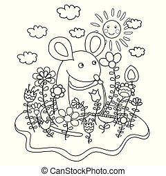 rigolote, flowers., coloration, souris, livre
