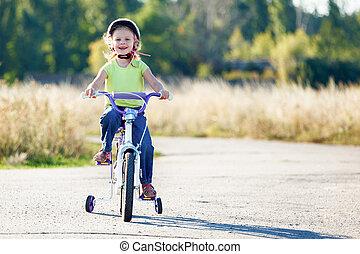 rigolote, formation, vélo, petit, équitation, wheels., gosse